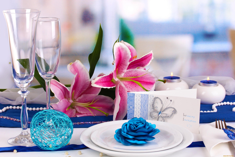 Обои стол, цветы, синие, серверовка. Цветы foto 14